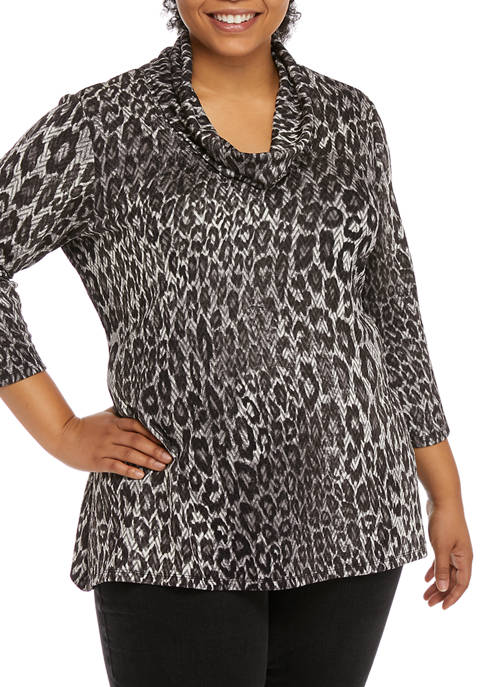 Plus Size Paint the Town Red Leopard Print Pullover