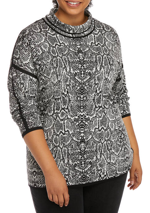 Plus Size Paint the Town Red Mock Neck Snakeskin Jacquard Sweater