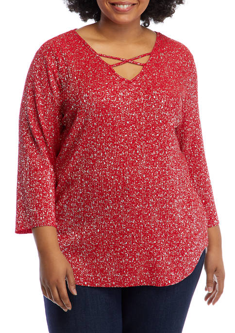 Plus Size Paint the Town Red Metallic Foil Top