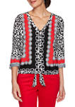 Petite Paint The Town Red Leopard Print Top