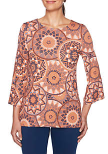 Three-Quarter Sleeve Medallion Printed Knit Top