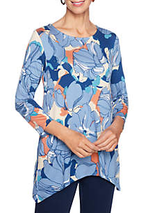 Floral Printed Shark-Bite Knit Top
