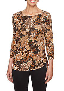 Animal and Floral Print Knit Top