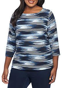 Plus Size Embellished Boat Neck Striped Knit Top