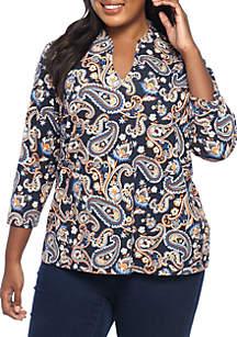 Plus Size Paisley Knit Top