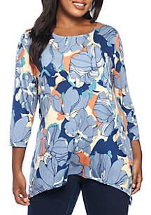 Plus Size Floral Printed Sharkbite Knit Top