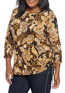 Plus Size Animal Floral Spots Ruched Side Knit Top