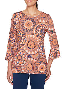 Petite Three-Quarter Sleeve Medallion Printed Knit Top
