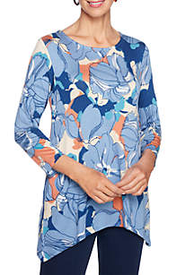 Petite Floral Printed Shark-Bite Knit Top