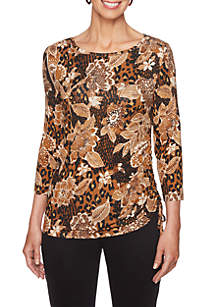 Petite Animal and Floral Print Knit Top