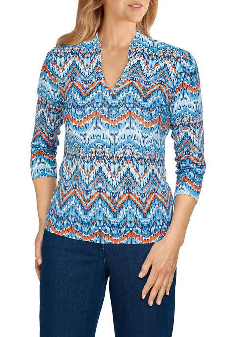 Ruby Rd Womens Embellished Textured Chevron Printed Top