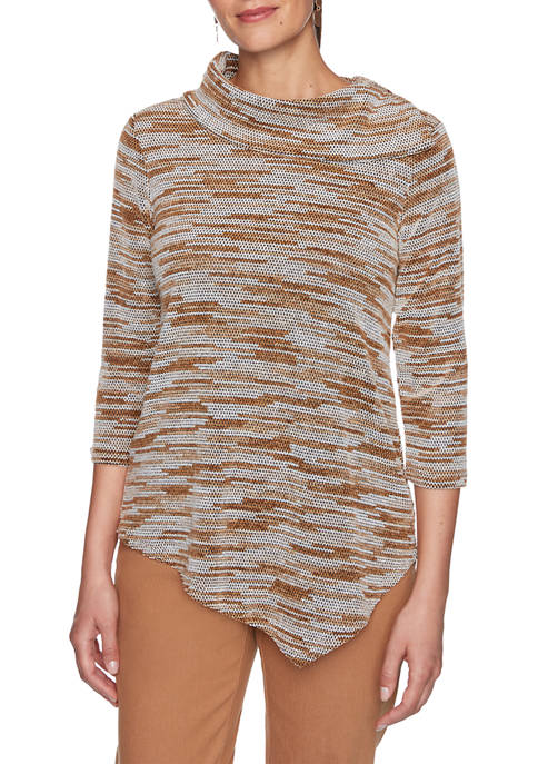 Ruby Rd Womens Act Natural Cowl Neck Space