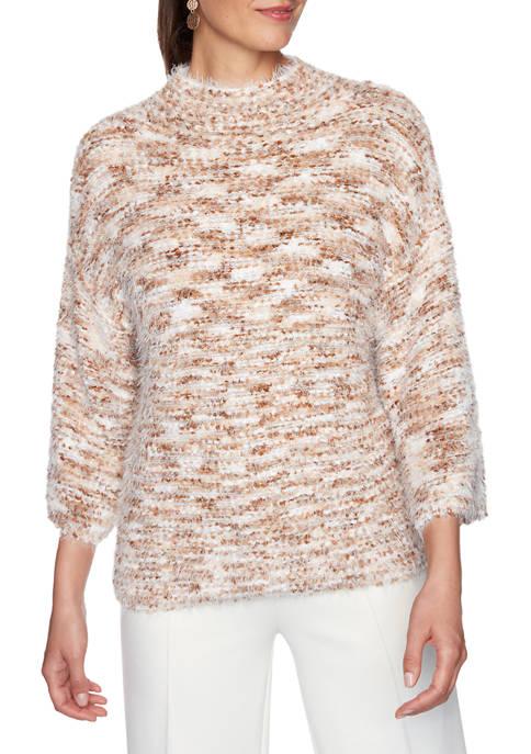 Womens Act Natural Mock Neck Pom Pom Eyelash Sweater