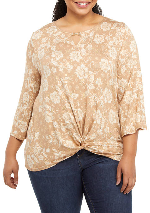 Ruby Rd Plus Size Act Natural Knit Floral