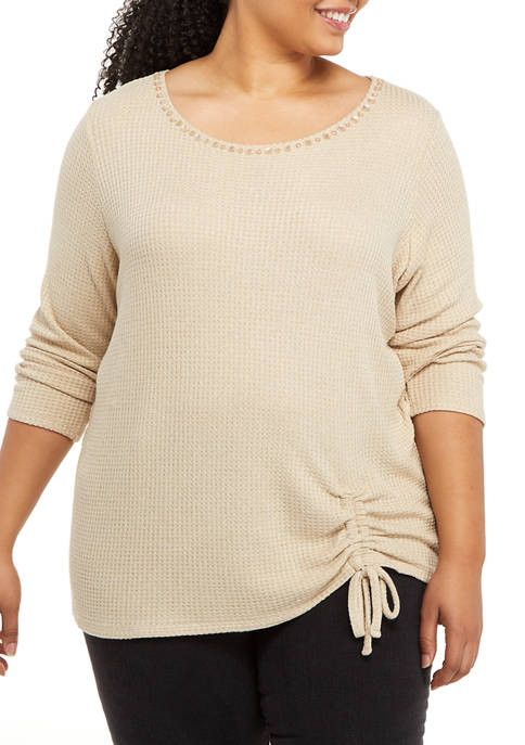 Ruby Rd Plus Size Act Natural Knit Embellished