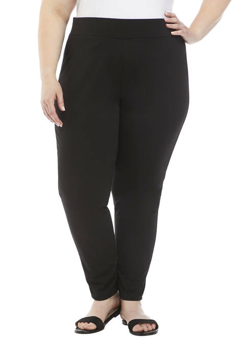 Ruby Rd Plus Size Solid Ponte Pants