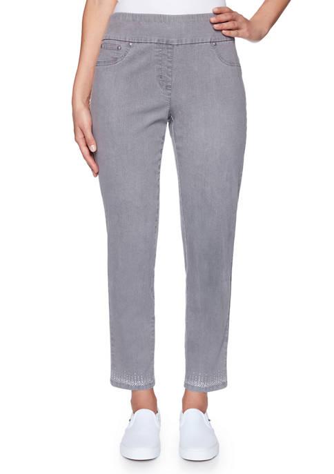 Womens Instaglam Pull On Denim Pants with Embellished Hem