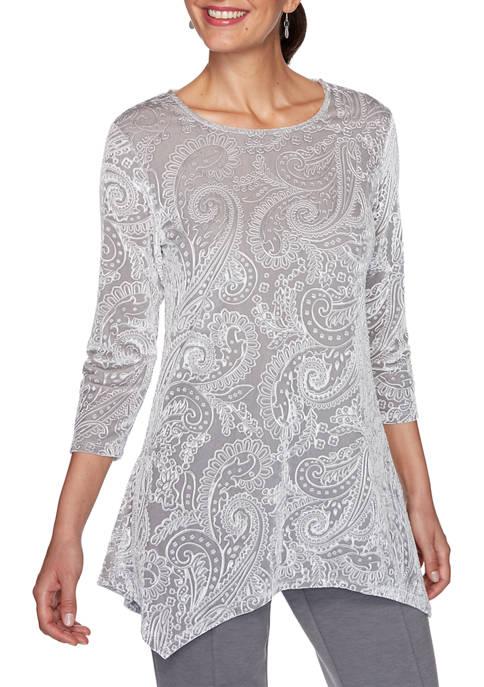 Womens Instaglam Scoop Neck Paisley Print Embossed Velvet Top