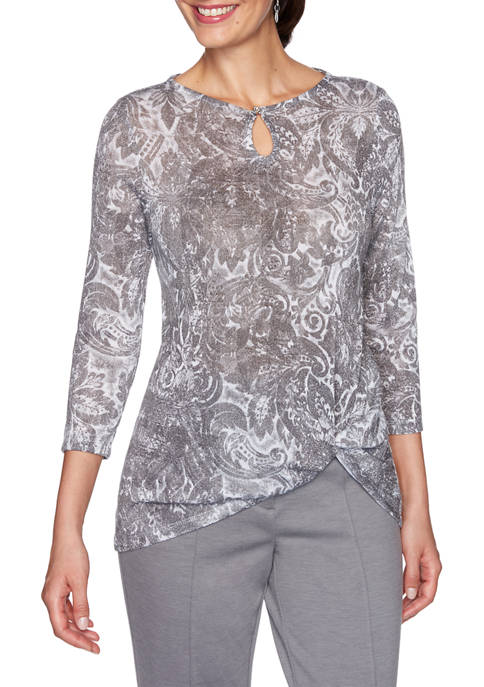 Ruby Rd Womens Instaglam Scoop Neck Holiday Shimmer