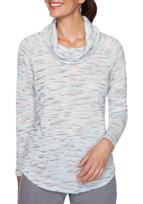 Womens Instaglam Cowl Neck Cozy Space Dye Knit Top