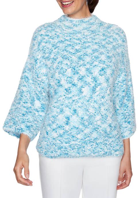 Ruby Rd Plus Size Instaglam Eyelash Metallic Sweater