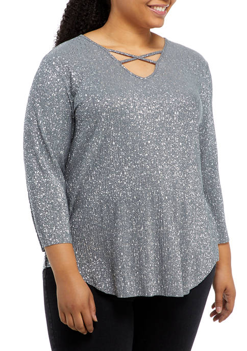 Plus Size Instaglam Cage Neck Printed Top