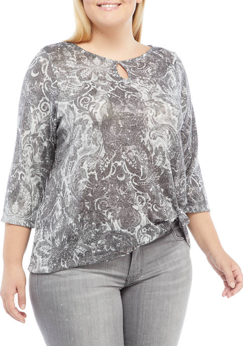 Plus Size Instaglam Long Sleeve Shimmer Twist Front Top