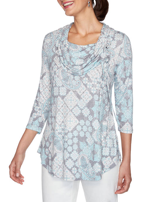 Ruby Rd Petite Instaglam Paisley Printed Knit Top