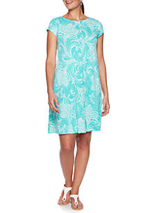Ruby Rd Must Have Shibori Floral Puff Dress