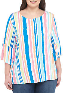 Ruby Rd Plus Size Bell Sleeve Stripe Top