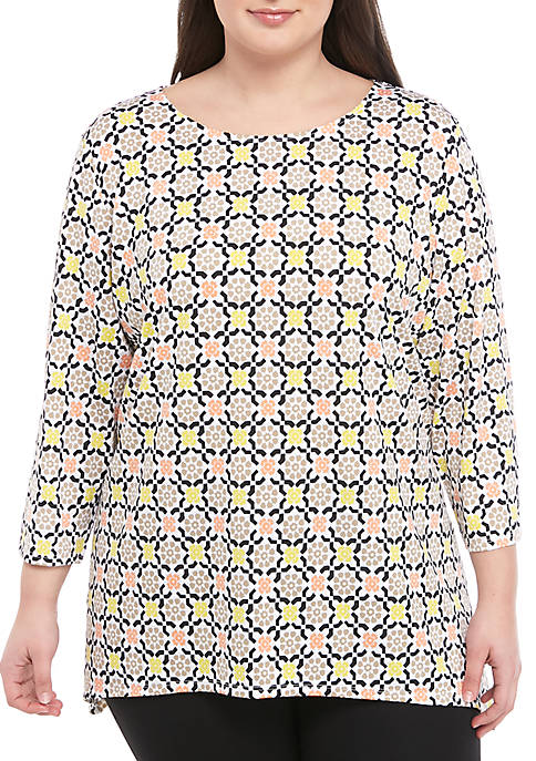 Ruby Rd Plus Size Puff Tile Print Top