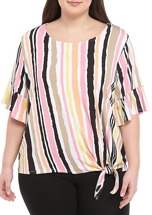 Ruby Rd Plus Size Bell Sleeve Tie Front