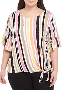 Ruby Rd Plus Size Bell Sleeve Tie Front Stripe Top