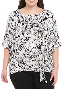 Ruby Rd Plus Size Bell Sleeve Tie Front Tropical Top