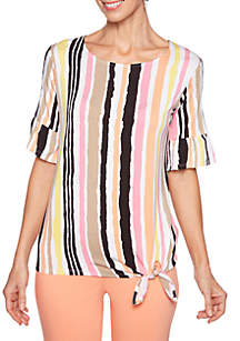 Ruby Rd Petite Parisian Stripe Top with Side Tie