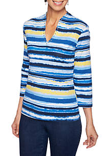 Ruby Rd Must Haves Distressed Stripe V Neck Top