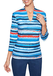 b1abfef7ce505 ... Ruby Rd Must Haves Distressed Stripe V Neck Top