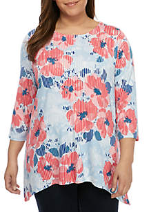 Ruby Rd Plus Size Floral Shark Bite Illusion Top