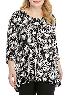 Ruby Rd Plus Size Must Have Bamboo Print Shark Bite Top