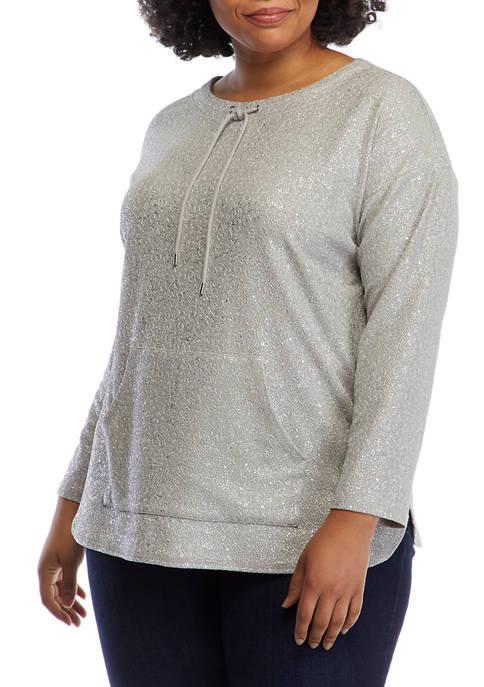 Plus Size Cozy Up Foil Pullover