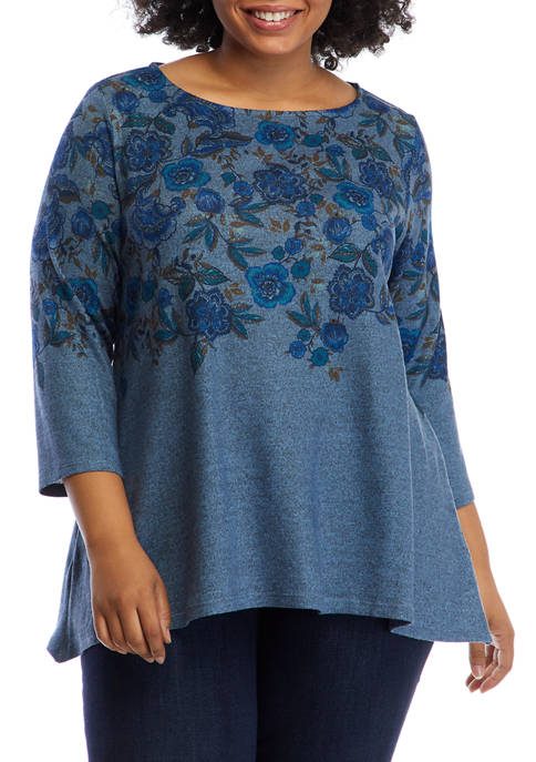Plus Size Cozy Up Floral Pullover