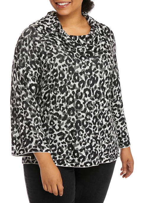 Ruby Rd Plus Size Cowl Neck Leopard Sweater