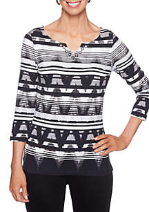 Must Haves I Striped Ikat Knit Top