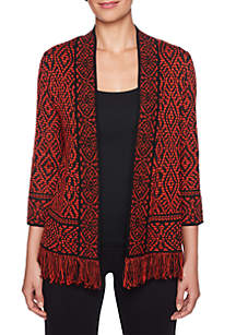 Tribal Printed Fringe Cardigan