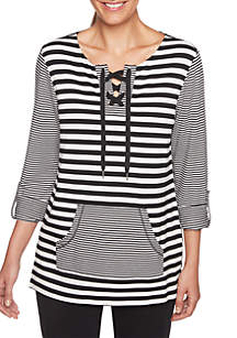 Three-Quarter Sleeve Striped Pullover Top