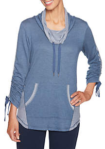 Two-tone Pullover Ruched Sleeves Top