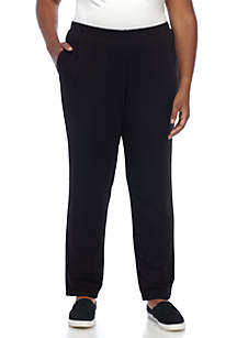 Plus Size Athleisure Pull-On Stretch Pants