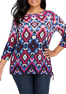 Plus Size Embroidered Neck Side Ruched Top