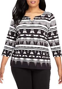 Plus Size Embellished Neck Striped Ikat Knit Top