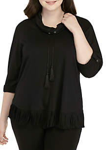 Plus Size Cowl Neck Fringe Pullover